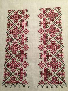 Skjorte til beltestakk, NY Blackwork Cross Stitch, Cross Stitch Borders, Cross Stitch Designs, Cross Stitching, Cross Stitch Patterns, Folk Embroidery, Cross Stitch Embroidery, Embroidery Patterns, Palestinian Embroidery