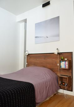 Amandine & Amaury's Little Loft in Paris — House Tour Bedroom Red, Closet Bedroom, Cozy Bedroom, Bedroom Decor, Condo, Paris Home, Small Bedroom Designs, Dream Furniture, Apartment Design