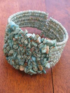 SuzieblueTurquoise chip and bead cuff