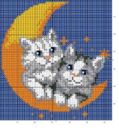 Kitties on the moon x-stitch Cross Stitch Pillow, Cross Stitch Pictures, Cross Stitch Heart, Cute Cross Stitch, Beaded Cross Stitch, Cross Stitch Animals, Cross Stitch Designs, Cross Stitch Embroidery, Cross Stitch Patterns