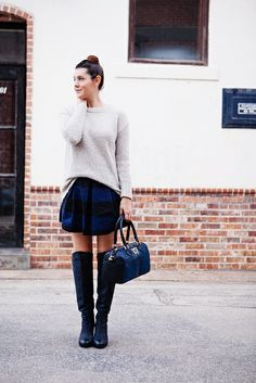 loose sweater, striped mini, tall boots