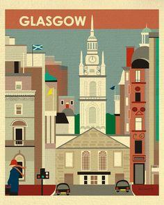 retro Galsgow, Scotland travel print for home and office