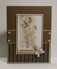 Serene Silhouette. Shadow created by stamping first in brown, then offsetting & stamping in VersaMark. White embossing powder was then used. Once the EP was set with a heat gun, the image was selectively sponged.