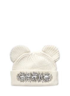 Combining cosy knitted accessories with a jewellery appeal, this beanie from creative fashion maven Markus Lupfer is playfully adorned with cat ear flaps and a dazzling cluster of resin gems that will let your inner feline shine through. Markus Lupfer, Cat Hat, Knitting Accessories, White Shop, Branding Design, Winter Hats, Women Wear, Brands Online, Sequins