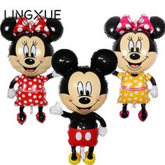 [Visit to Buy] New! 112*64cm Red bowknot Mickey Minnie foil Balloons Classic kids Toys Birthday Wedding Party inflatable air balloons #Advertisement