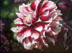 "FINE ART PRINT, Giclee art print - ""Presence"", 9""x 12"", garden flower, flower print, red and white flower, dahlia flower, wall art by spiARTual on Etsy"