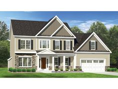 Floor Plan AFLFPW77056 - 2 Story Home Design with 3 BRs and 2 Baths