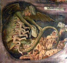 Giovanni Canavesio, Jugement Dernier - Damnés (Last Judgement - The Damned Souls [detail]), 1492. Sanctuary Notre Dame des Fontaines, La Brigue, France.