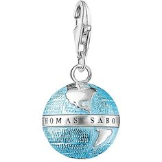 Thomas Sabo Charm Club Enamel Globe Charm, Blue/Silver (88 NZD) ❤ liked on Polyvore featuring jewelry, pendants, lobster claw clasp charms, mini charms, silver travel charms, enamel charms and blue charm