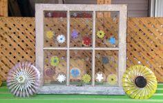 window flowers on old window