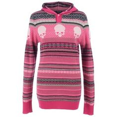Iron Fist Ladies Christmas Jaquard Sweater Pink/wht