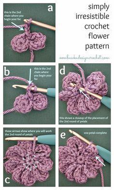 Simply Irresistible Crochet Flower Free Crochet Pattern Oombawka Design. ☀CQ #crochet #crochetflowers http://www.pinterest.com/CoronaQueen/crochet-leaves-and-flowers-corona/