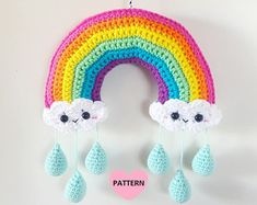 Rainbow Mobile PDF Pattern, crochet, amigurumi Rainbow Crochet Kawaii Clouds Mobile PDF Pattern crochet by SuperCuteDesignShop on Etsy
