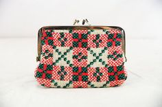 Vintage Red Green Textile Tapestry Woven 70's Coin Purse