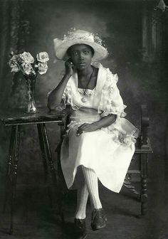 """""""African American lady in white. 1920."""" (Original caption) I think this picture sort of makes us go """"huh?"""" Why? I think it is because we are ingrained and conditioned to see women of this time period, dressed in this way, to be white. I think it's important to understand that having those expectations (even for history) are dangerous and can mislead us into having similar expectations for the present."""