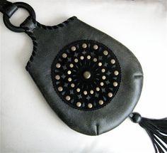 Black Crackle Leather Pendant Shoulder Bag Black by karenkell, $165.00