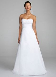 Satin Strapless Al Line Wedding Dress with Ruched Waistband