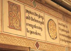 Simes Studios, Inc. Illuminated manuscript-inspired design, painted on canvas. Detail.
