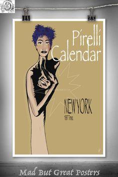Pirelli calendar Richard Avedon Inspired, original poster, fashion print, vintage, retro, wall art, decor, gift, travel, fine, illustration by MadButGreatPosters on Etsy