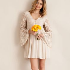 """Scheherazade"" Lace Bell Sleeve Dress Lace bell sleeve mini dress with a flare bottom. Available in pink and cream. This listing is for the CREAM. Brand new. Loose fit runs half a size large. Fully lined, non sheer. NO TRADES DON'T ASK. Bare Anthology Dresses Mini"