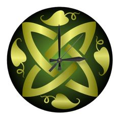 Gold and Green Celtic Knot and Vine Wall Clock Gold Wall Clock, Vine Wall, Gold Walls, Celtic Knot, Vines, Knots, Fairy, Green, Design