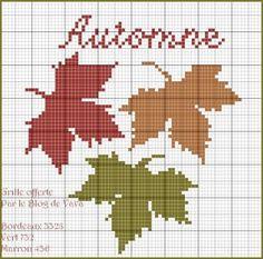Plus que deux semaines de thème automnal, on passera à Noël aux vacances de Toussaint. Quelques feuilles toutes simples mais j'aime bien ces feuilles déclinant les couleurs de cette belle saison. A télécharger ici pour une meilleure lisibilité de la grille....