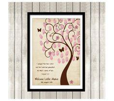 Baby Shower Printable Daumenabdruck Baum Gästebuch von By Yolanda auf DaWanda.com