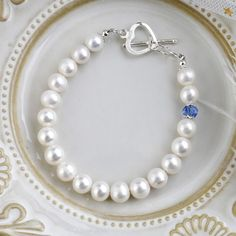 Girls Gift Freshwater Pearl Bracelets with Heart Shaped Silver Sterling & Blue Crystal Bangles For Women Freshwater Pearl Bracelet, White Freshwater Pearl, Pearl Bracelets, Pearl Jewelry, Diy Jewelry, Jewelry Design, Jewelry Making, Bangles, Jewelry Ideas