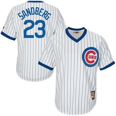 205070838 Men s Chicago Cubs Ryne Sandberg Majestic White Home Cool Base Cooperstown  Collection Player Jersey