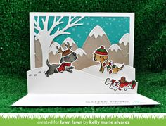 Happy Howlidays! Lawn Fawn feature Stitched hillside popup card with Kelly Marie Alverez!
