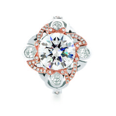 ABERDEEN engagement ring from the Scottish Towns collection by MaeVona. Stunning Celtic-inspired design in two-tone rose and white gold featuring pear-shape and pave accent diamonds.