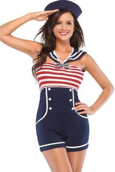 Navy Red White Women Pin up Sailor Costume