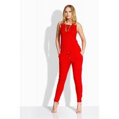 Salopeta elegant cu accesorii metalice si snur la nivelul decolteului rosie Red Lace, Lace Up, Chic Outfits, Summer Outfits, Dressing, Jumpsuit, Casual, Princess, Fashion