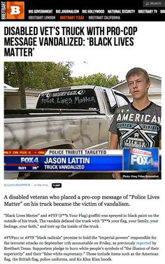 """Breitbart """"News"""" Race-Baiting Fails Again: Man Vandalized His Own Truck With Anti-Cop Messages - Little Green Footballs"""