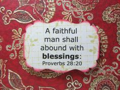 Scripture Handmade Card Proverbs 28:20 Faithful by paperblessings. , via Etsy.