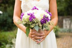 White and purple bouquet - I actually would like this better as a (larger) centerpiece than a bouquet. More white than purple.