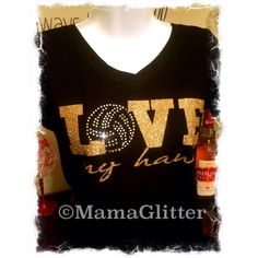 Love My Volleyball Player Glitter and Rhinestone Bling T-Shirt ($35) ❤ liked on Polyvore featuring tops, t-shirts, black, women's clothing, v neck t shirts, glitter t shirts, scoop t shirt, v neck tee and v-neck shirts