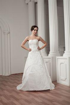 A-Linie trägerloser Ausschnitt Taft bodenlanges Brautkleid - Bild 1