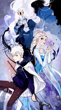 Jack Frost, Elsa, and the snow queen