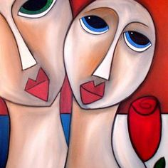 Art 'A Tight Bond - Faces - by Thomas C. Fedro from Faces Abstract Face Art, Basic Drawing, Wood Carving Patterns, Artist Portfolio, Whimsical Art, Female Art, Drawings, Cubism, Painting