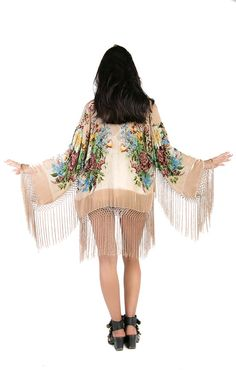 459a25c8ceaab Champagne Floral Velvet Burnout Gypsy Fringe by saltwatergypsy