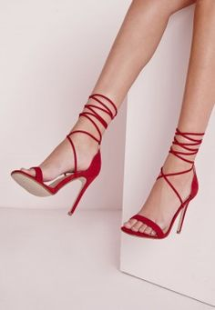 Lace Up Barely There Heeled Sandals Red
