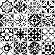 Kitchen Wall Stickers, Cheap Wall Stickers, Bathroom Tile Stickers, Floral Pattern Vector, White Ornaments, Black And White Tiles, Tile Art, Tile Patterns, Retro Design