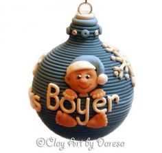 Babys 1st Christmas polymer clay ornament