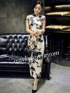 Beige Ankle-length Qipao / Cheongsam Prom Dress with Split