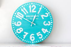 Vintage clock -Bruxelles turquoise- pseudo vintage birch clock hand painted  happy fresh turqouise color. €35,00, via Etsy.