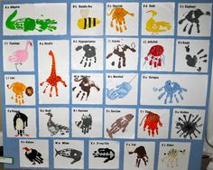 Such a darling way to capture your child's #handprint and turn it into art that teaches kids about the world. The A-Z Handprint Art via Kara's Classroom
