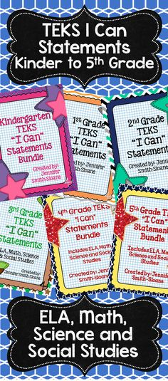 Need an easier way to write that daily objective for each subject? Grab the TEKS I Can Statements for Language Arts, Math, Science and Social Studies