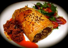 Lamb Byriani Rolls with Hot Mango Pickle - Em's Food For Friends Lamb Dinner, Sausage Rolls, Lamb Chops, Very Well, Eating Well, Pickles, Spicy, Mango, Curry
