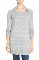 Caslon® Zip Seam Tunic Sweater with Pockets (Regular & Petite)